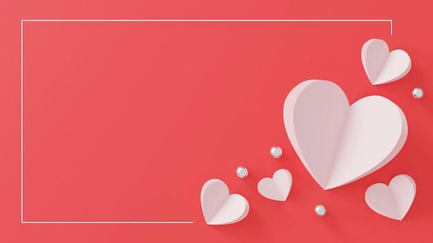 Happy valentinstag konzept. papierherz und silberne kugel auf rosa. Premium Fotos