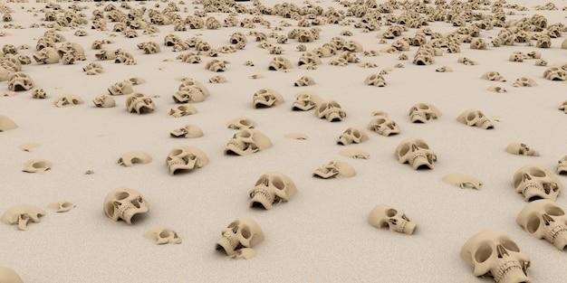 Haufen von schädeln auf sand. apokalypse und hölle konzept. 3d-rendering. Premium Fotos