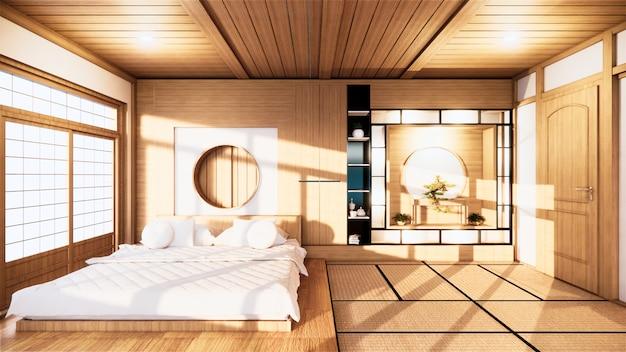 Hauptinnenwandmodell mit holzbett im minimalen design des schlafzimmers. 3d-rendering. Premium Fotos