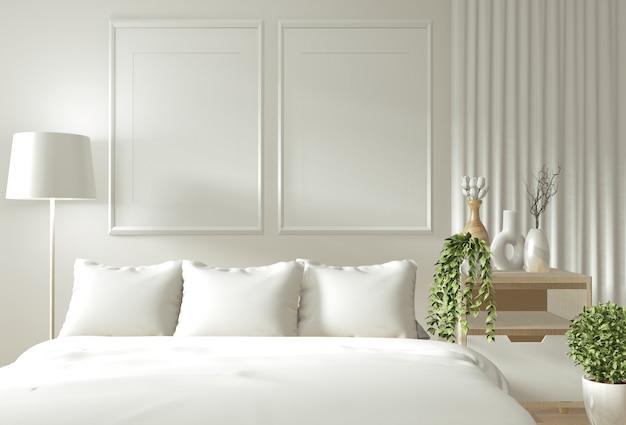 Hauptinnenwandspott oben mit hölzernem bett, vorhängen und japanischer art der dekoration im zenschlafzimmer Premium Fotos