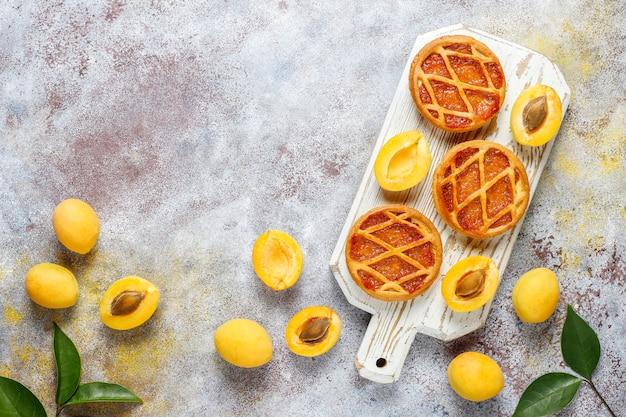 Hausgemachte rustikale mini-aprikosenkuchen mit frischen aprikosenfrüchten Kostenlose Fotos