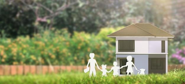 Hausmodell dort platz. haus-, wohn- und immobilienkonzept Premium Fotos