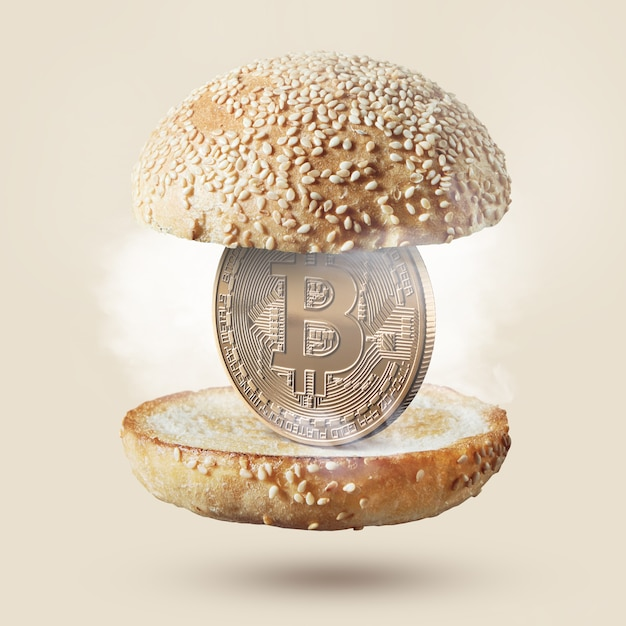 Heiße burgerbrötchen mit einer münze bitcoin gold im inneren. lebensmittelkonzept. kaufen sie lebensmittel für kryptowährung. Premium Fotos