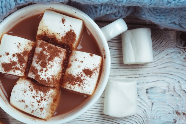 Heiße schokolade mit eibischen auf dem tisch Premium Fotos