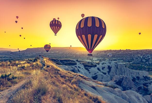 Heißluftballons fliegen über spektakuläres kappadokien Premium Fotos