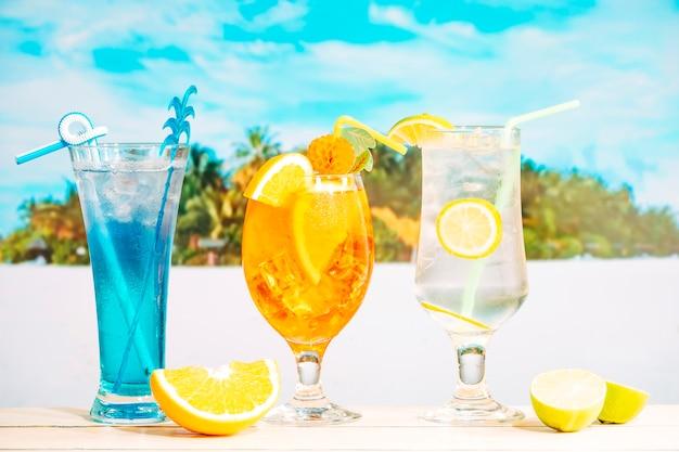Helle leckere getränke in dekorierten gläsern und geschnittenen zitrusfrüchten Kostenlose Fotos