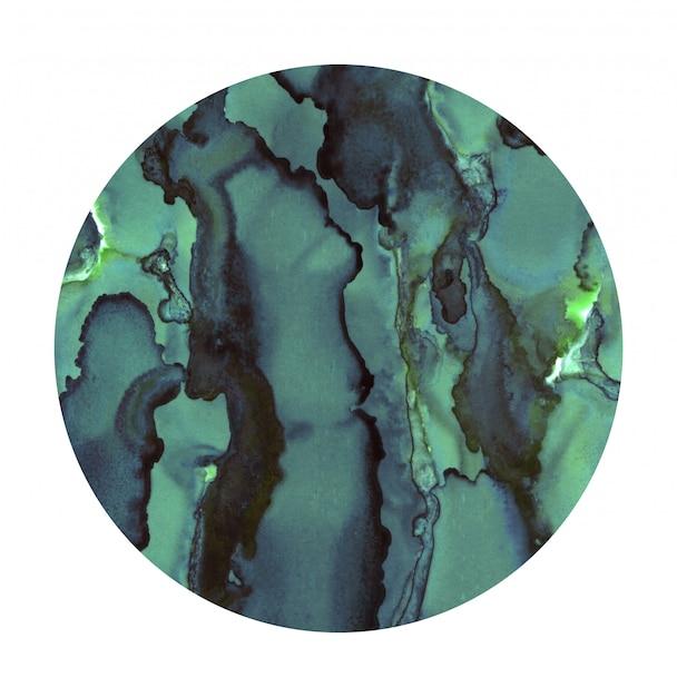 Heller aquarellfleck. bemalter türkisfarbener kreis. abstrakte beschaffenheit getrennt auf weiß. malerei dekoration. Premium Fotos