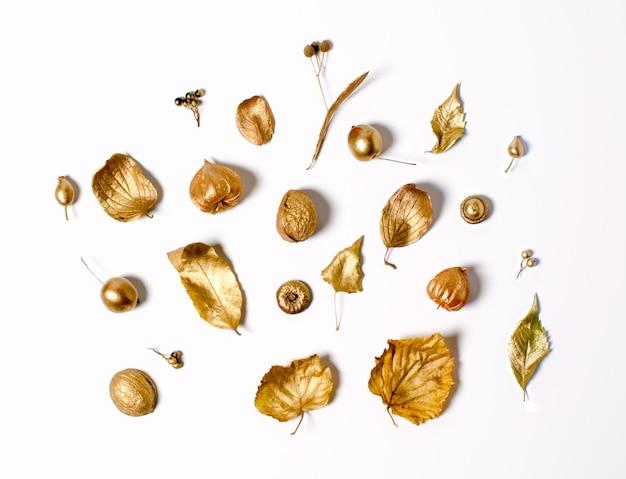 Heller goldener herbstlaub, wilde äpfel und physalisblumen Premium Fotos