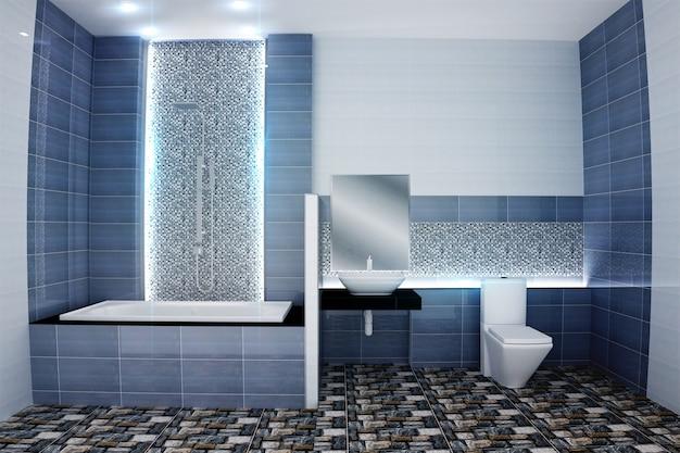 Helles Badezimmer Design Fliesen Blau Modernen Stil 3d Rendering Premium Foto