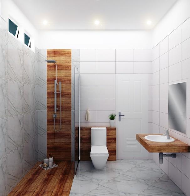 Helles Badezimmer Design Fliesen Weiss Modernen Stil 3d Rendering Premium Foto