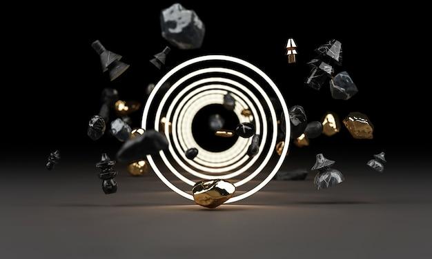 Helles leuchten von geometrischen formen mit rock-3d-rendering Premium Fotos