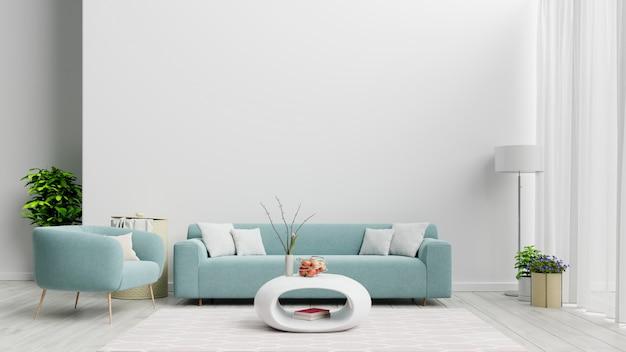 Helles Und Gemutliches Modernes Wohnzimmer Mit Sofa Und Lampe An Weisser Wand Premium Foto