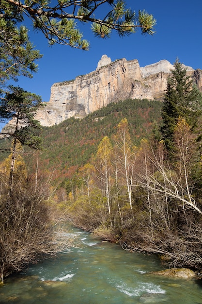Herbst fluss in ordesa nationalpark, pyrenäen, huesca, aragon, spanien Kostenlose Fotos