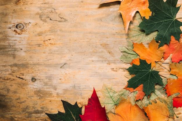 Herbst herbst blätter auf hölzernen hintergrund Kostenlose Fotos