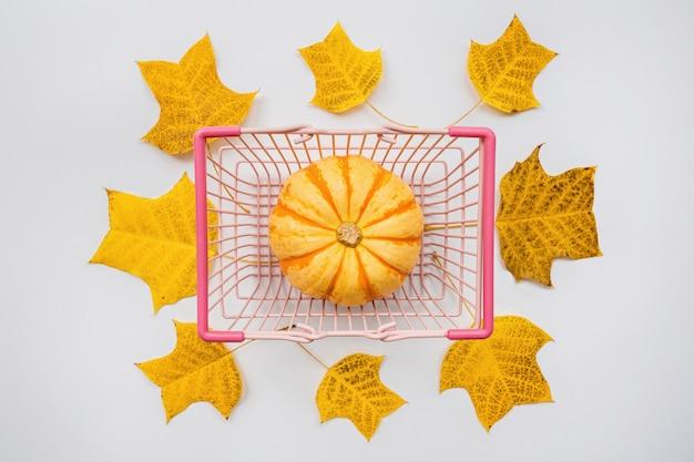 Herbstkürbis im lebensmittelkorb und im fall verlässt auf weiß Premium Fotos