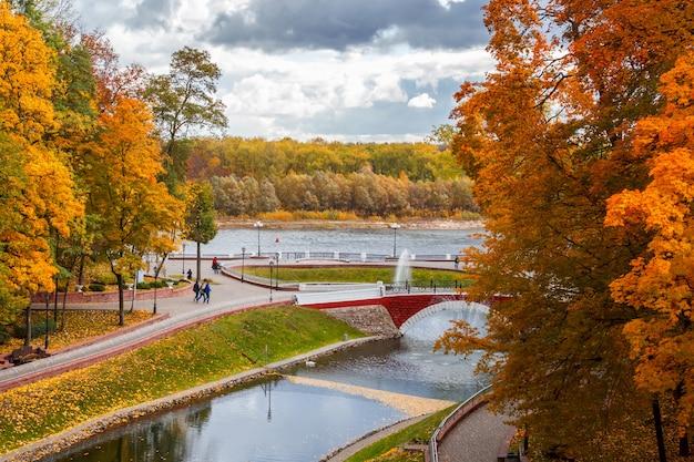 Herbstlandschaft schöne bunte bäume im hintergrund Premium Fotos