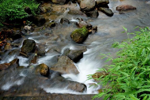 Herbstwasserfallfluss-stromszene. Premium Fotos