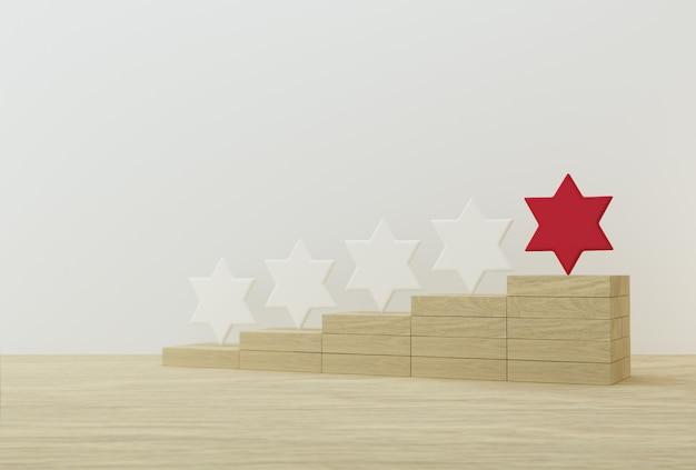 Hervorragende rote sternform auf holzstöcken. das beste rating für exzellente unternehmensdienstleistungen für das kundenerlebnis Premium Fotos
