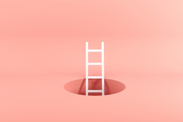 Hervorragende weiße leiter, die inneres loch auf rosa steht Premium Fotos