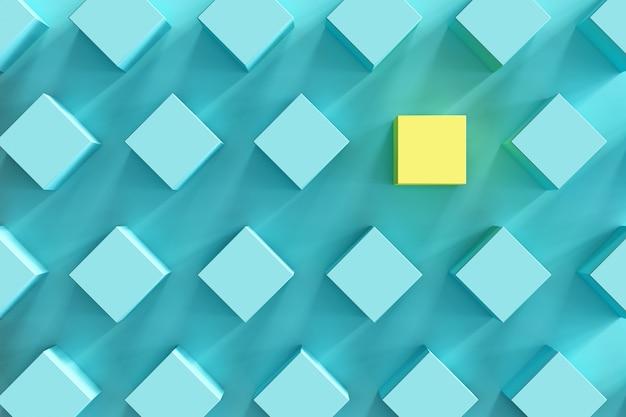 Hervorragender gelber kasten unter blauen kästen auf hellblauem hintergrund. minimale flache lage Premium Fotos