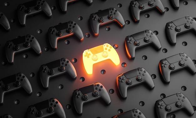 Hervorragendes konzept. glühendes gamepad zwischen mehreren schwarzen joysticks hintergrund-3d-rendering Premium Fotos