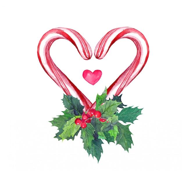 Herz mit zuckerstange und mistel. aquarell für weihnachten Premium Fotos