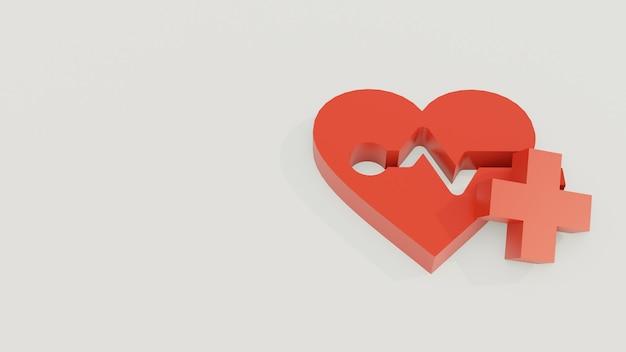 Herz oder liebe 3d modell mit pluszeichen Premium Fotos