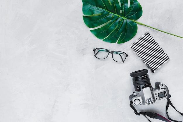 Herzformblatt, brillen, geldbörse und kamera auf grauem hintergrund Kostenlose Fotos