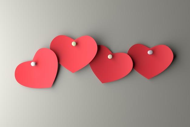 Herzpapier an der wand. 3d-rendering. Premium Fotos