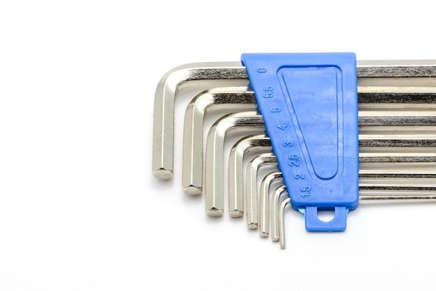 Hex schlüsselschlüssel set isoliert Premium Fotos