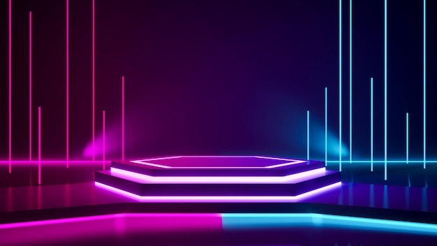 Hexagon-bühne und violettes neonlicht Premium Fotos