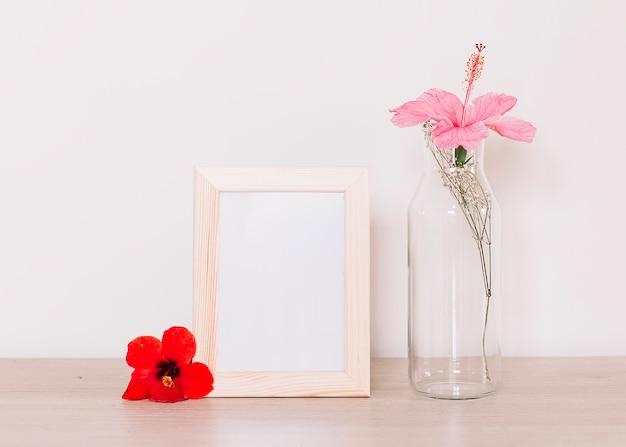 Hibiskus in einer flasche Kostenlose Fotos