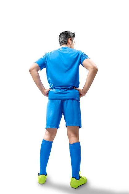 Hintere ansicht der fußballspielermannstellung Premium Fotos