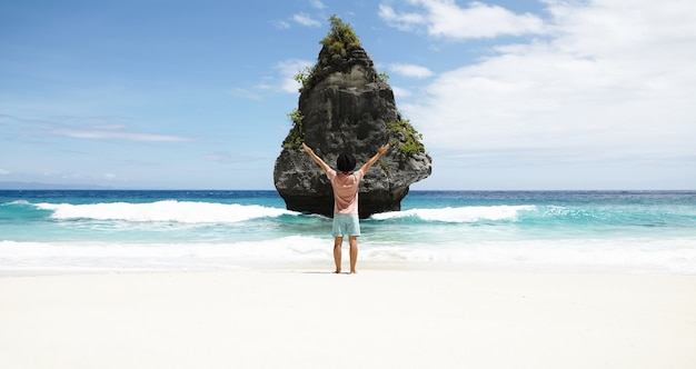 Hintere ansicht des mannes vor felsiger insel mit tropischer vegetation, bewundernde wunderbare ansicht, am strand mit azurblauem meerwasser und blauem himmel am horizont stehend Kostenlose Fotos