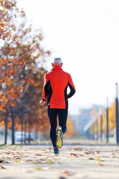 Hintere ansicht eines älteren mannes in der sportkleidung, die im park an einem sonnigen tag rüttelt Premium Fotos
