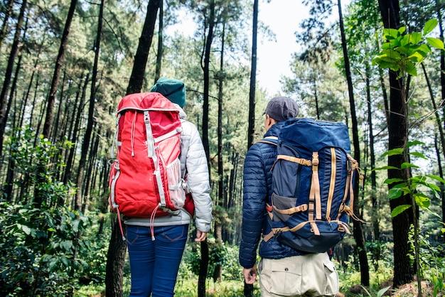 Hintere ansicht von den asiatischen wandererpaaren, die zusammen reisen Premium Fotos