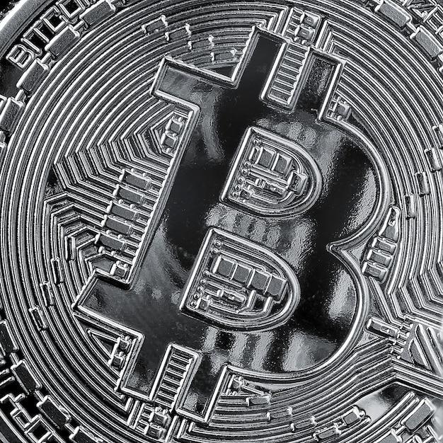 Hintergrund aus nahaufnahme bitcoin-münze. konzeptionelles bild für kryptowährung und blockchain. Premium Fotos