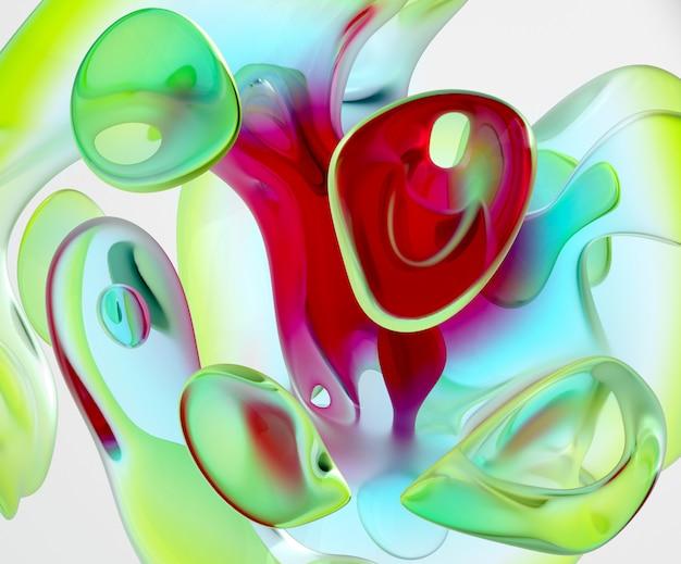 Hintergrund der abstrakten kunst 3d mit einem teil der glasskulptur in der organischen kurve Premium Fotos