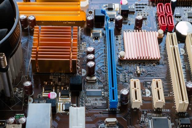 Hintergrund der motherboard-nahaufnahme Premium Fotos