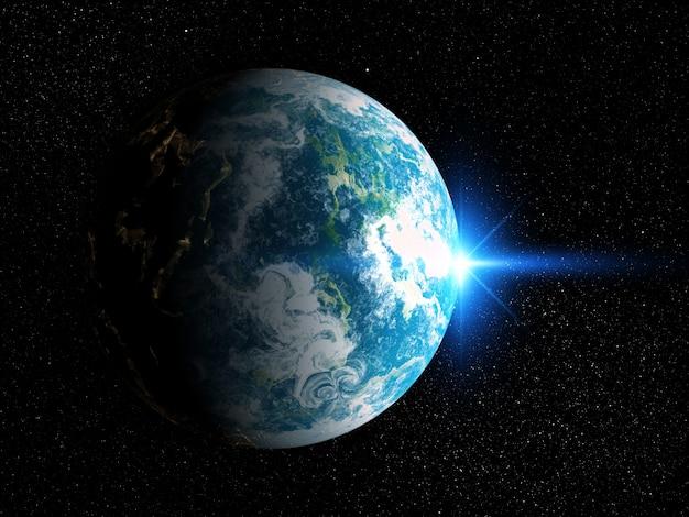 Hintergrund des raumes 3d mit fiktivem planeten Kostenlose Fotos