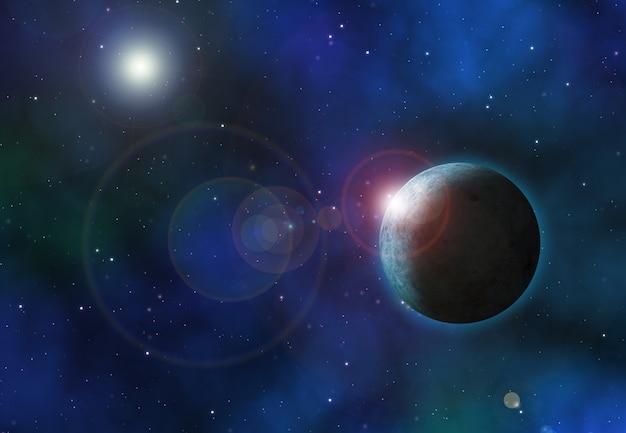 Hintergrund des raumes 3d mit fiktiven planeten Kostenlose Fotos