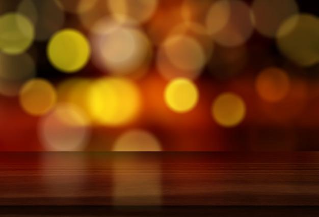 Hintergrund des weihnachten 3d mit holztisch gegen bokeh lichtdesign Kostenlose Fotos