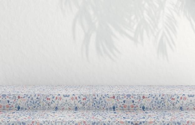Hintergrund für die anzeige kosmetischer produkte. mode hintergrund mit terrazzo textur.3d rendering. Premium Fotos