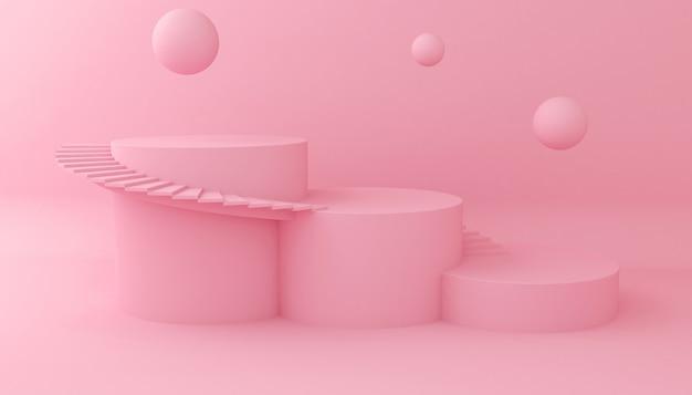 Hintergrund für kosmetische produktpräsentation anzeigen. leerer schaukasten, wiedergabe der illustration 3d. Premium Fotos
