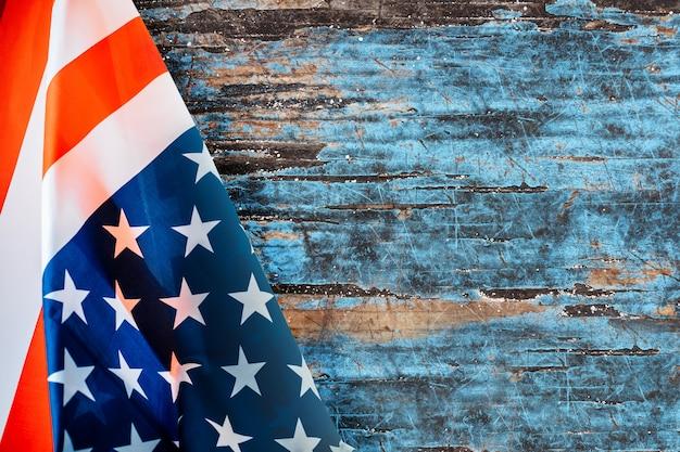 Hintergrund mit amerikanischer flagge und copyspace Premium Fotos