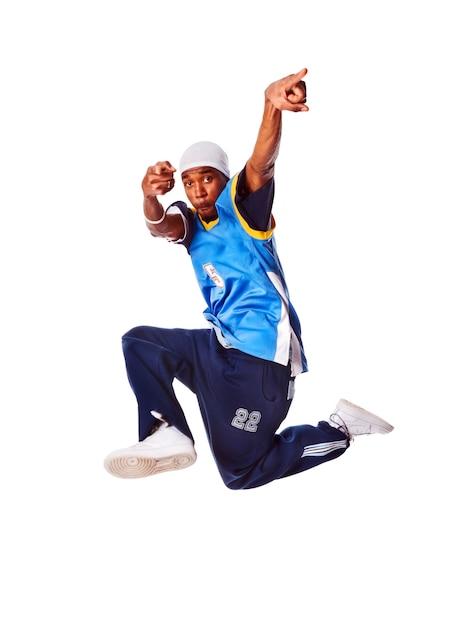 hip hop junge mann macht cool bewegen auf wei em. Black Bedroom Furniture Sets. Home Design Ideas
