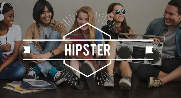 Hippie-weinlese-vektor-grafik-konzept Kostenlose Fotos