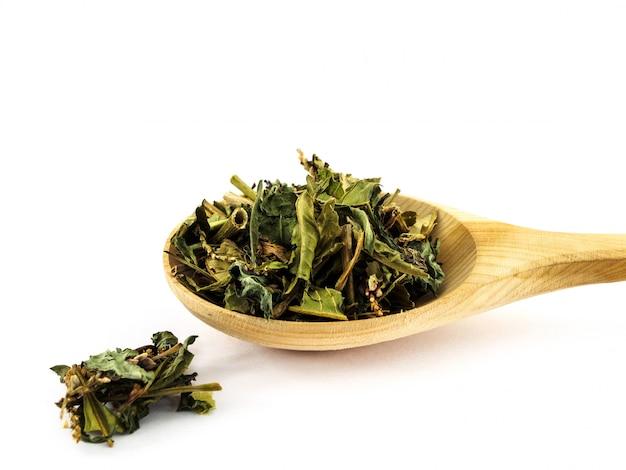 Hochländerpfeffer oder persicaria hydropiper im hölzernen löffel auf weiß Premium Fotos