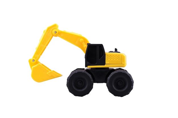 Hochleistungsbau-löffelbaggerspielzeug lokalisiert mit beschneidungspfad auf weißem hintergrund. Premium Fotos