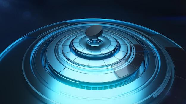 Hockey-waschmaschine fliegt über rotierende runde plattform in blauer farbe, 3d-modellierung Premium Fotos